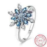 925 Sterling Silver Blue Drill Snow Shape Fashion Design Ring Jewelry