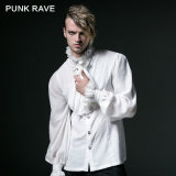 Wholesale Fashion Chiffon White Men Chinese Stand Collar Shirts (Y-522/WH)