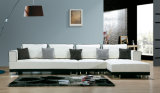 Leather Metal Living Room Sectional Chaise Sofa Furniture (868)