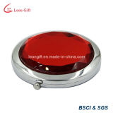Luxury Promotional Gift Round Red Diamond Makeup Mirror