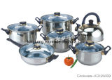 12PCS Stainless Steel Cookware with Very Good Price From China/12PCS Stainless Steel Kitchenware with High Quality (KG12A039)