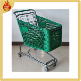 Supermarket Plastic Shopping Trolley with 4 Wheels