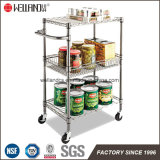 DIY 3 Tiers 50kg Chrome Metal Kitchen Cart with Flat Hand