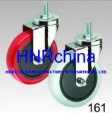 Red PVC Wheel Swivel Thread Top Caster