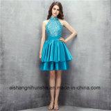 Halter High Neck Sleeveless Satin Dresses A-Line Beaded Prom Dress