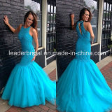Halter Blue Prom Party Gowns Mermaid Beading Evening Dress 4034