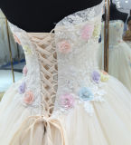 2017 New Style Soft Handmade Ball Gown Wedding Dress with Colorful Flowers