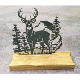 Tin Metal Wooden Table Decoration Elk Plaque