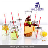 7PCS Clear Glass Juice Drinking Set with Straw