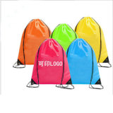 China Supplier Promotional Custom Logo Print 210d Polyester Drawstring Bag