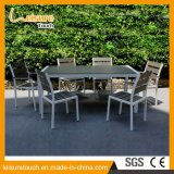 French Leisure Bistro Garden Outdoor Furniture Waterproof Polywood Powder Spraying Aluminum Dining Restaurant Chairs Tables Set