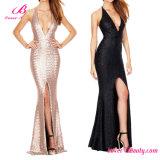 Champagne Sequin Mermaid Hem Stunning Dusk Till Dawn Gown Formal Evening Dress