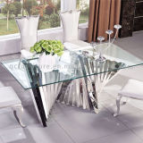 Fashion Tempered Glass Stainless Steel Dining Table and Chair Sets