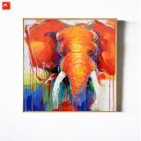 Orange Elephant Oil Painting with Frame