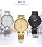 Belbi Japan Movement Super Slim Man Quartz Battery Wrist Watch with Ultra-Thin Stainless Steel Band Gold Black Silver for You to Choose
