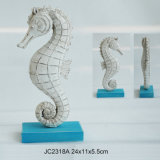 Vintage Polyresin Seahorse Table Decoration with Wood Base