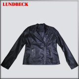 Black Women PU Jacket with Simple Style