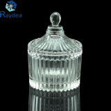 Stock Beautiful High Clear Glass Candy Jar with Glass Lid