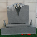 G633 Light Grey Granite Single Upright Monument