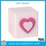 Sweet Girl Square Pink Heart Saving Box