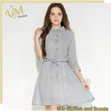 3/4 Sleeve Gray T-Shirt Chiffon Women Office Dress
