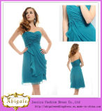 Sweetheart Chiffon Short Sleeveless Teal Colored Bridesmaid Dresses (MI 3512)