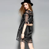 Black Silk Casual Women Lady Dress Clothing