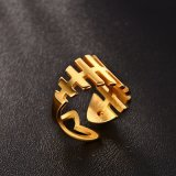 Facotry Polised Gold Plating Fish Bone Opening Ring