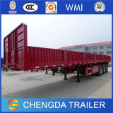 3 Axles Flatbed Container Utility Drop Side Wall Cargo Trailer for Sale
