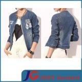 Chest Patchround Collor Sport Style Girl Denim Coat (JC4065)