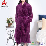 Wholesale 280GSM Cut Plush Flannel Fleece Women Bathrobe Sleepwear