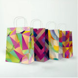 Customized White Kraft Paper Gift Shopping Bag with Twisted Handle