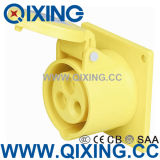 Cee Yellow 32A Straight Type Panel Mounted Socket