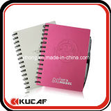 Embossing Logo Metal Cover Spiral Notebook with Pen