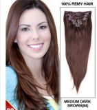 100% Human Remy Hair Clip in Hair Brown Color