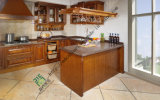 American Oak Solid Wood Kitchen Cabinet with Bar Counter (zs-282)
