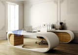 Semi Circle White Executive Marble Google Desk