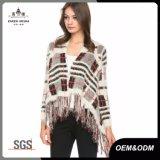 Plaid Fringe Knit Womens Sweater Jacket