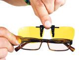Yellow Night Vision Retro Polarized Clip-on Flip-up Plastic Sunglasses Driving Traveling