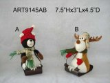 "8""H Christmas Decorationwood Land Reindeer & Black Bear on Metal Sled-2asst"