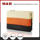Three-Color Horizontal Stripes Portable Shopping Bag Leather Clutch Bag