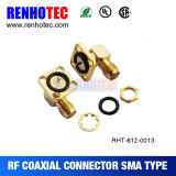 Right Angle 4 Hole Flange Mount Female Jack Waterproof SMA Connector