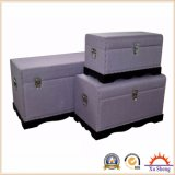 Accent Decorative Large Curved Linen Trunk -Purple