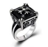 Matte Black Men Cross Ring Fashion Stainless Steel Accessories