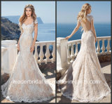 Cap Sleeves Bridal Gowns Champagne Lace Wedding Dress H18207