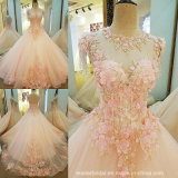 Pink Wedding Dress Lace Flowers Bridal Wedding Gown PV315