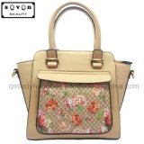 Beige Color Ladies Handbag with Silk Screen Flower Pattern