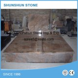 European Style Red Granite Double Gravestone for Sale