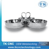 Stainless Steel Triple Tray with 3 Bowls & Heart Shape Handle as Tableware / Hotelware by Stamping, Pressing, Laser Welding