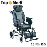 Topmedi Reclining High Backrest Wheelchair with Elevating Footrest